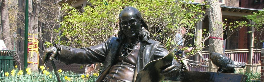 A statue of Benjamin Franklin, founder of University of Pennsylvania.