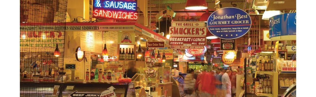 Photograph of Reading Terminal Market, a common place to visit while in Philadelphia.
