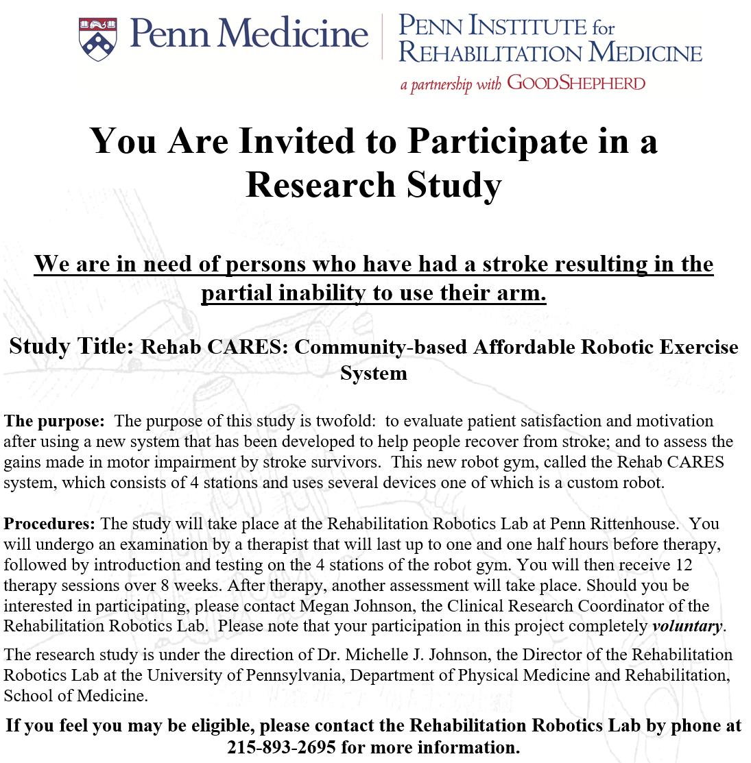 Participate in Research   Rehabilitation Robotics Lab