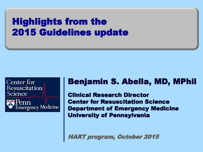Highlights from the 2015 Guideline's Update