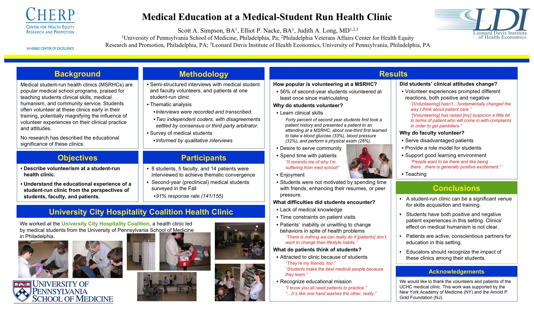 Understanding Medical Student-Run Health Clinics: Research Products